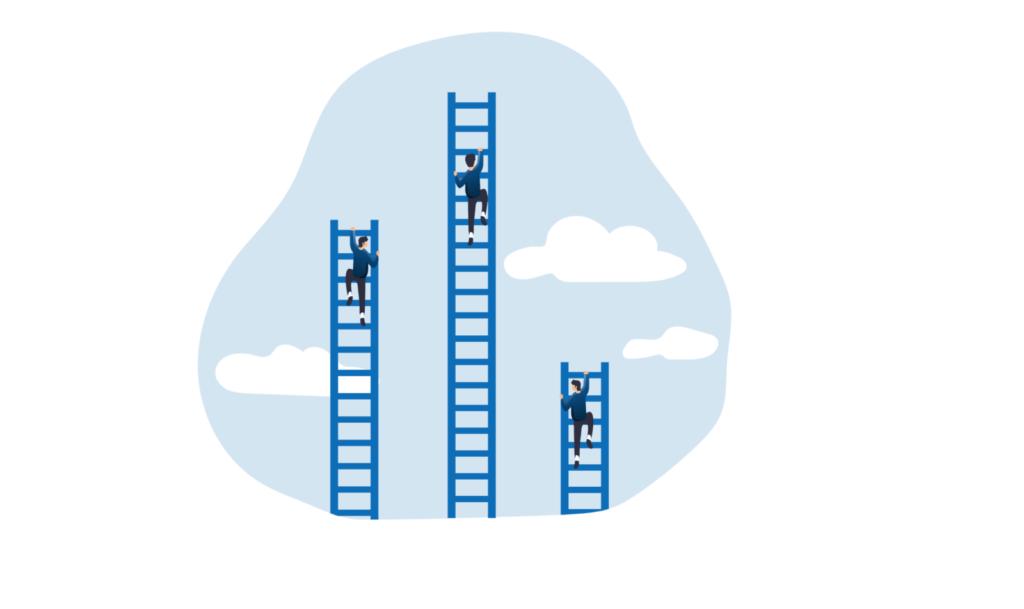 שלושה אנשים מטפסים על סולמות כחולים