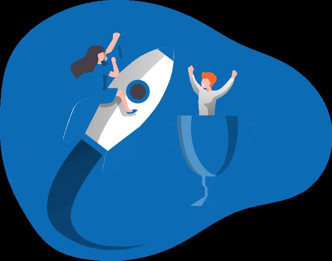 אישה מונפשת על חללית עם מגפון ומולה איש מונפש בתוך גביע