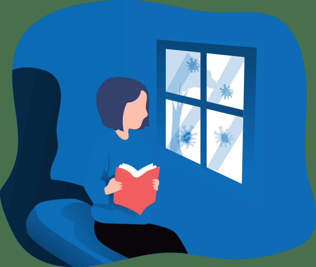 אישה מונפשת קוראת ספר אדום ומביטה מהחלון